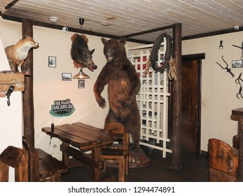 21st of July 2018 - Scene from Russian bar with exibition of taxidermic animals, Ust-Luga, Russia