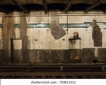 21st Street subway station wall in Long Island City, New York