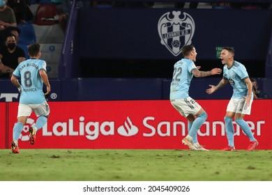 21th September 2021; Estadio Ciutat de Valencia, Valencia, Spain; La Liga football, Levante UD versus Celta de Vigo; Iago Aspas and Santi Mina of RC Celta