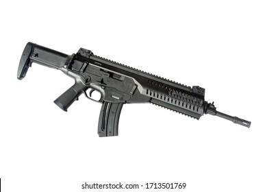 A 22 Caliber assault rifle on a white background