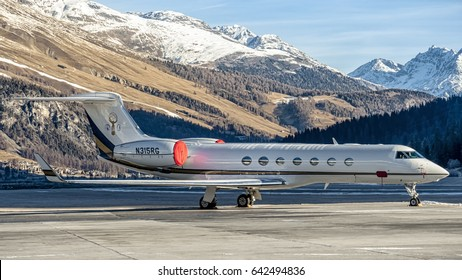 22 December 2016 Parked at Samedan Engadin Airport, Switzerland, this Gulfstream G550 of Renair Corporation Airline, Renco Group Inc. Reg N315RG . Airport situated near St. Moritz on Alps.