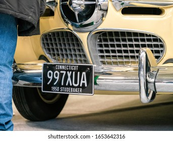 22 Feb 2020 - London, UK. Close up detail of a 1950 Studebaker classic car with American registration plate.