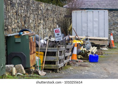 22 January 2018 The back yard amenities centre and outbuildings with various pieces of detritus and recyclable material at Tullymore Forest Park  in County Down Northern Ireland