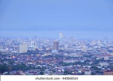 22 June 2016 Hat Yai Songkhla Thailand;Long Exposure Shot of night scene Hat Yai downtown,Songkla Thailand:Soft Focus and Motion Blur Due To Long Exposure Shot.
