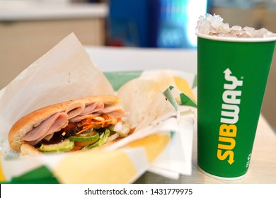 22 June 2019; Bangkok Thailand: Subway Melt Ham Sandwich and drink at Subway Sandwich Restaurant. Subway is an American fast food restaurant franchise that sells sandwiches and salads.
