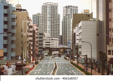 22 Mar 2016 : Japan Tokyo city in the morning is quiet , peaceful and no traffic jams  / Vintage look