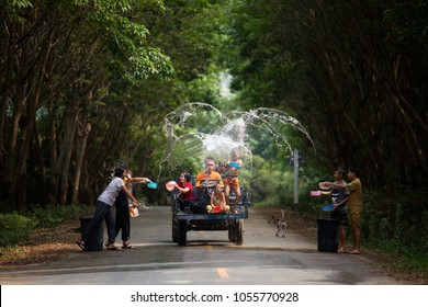 22 March 2018 Songkran festival Nong Khai Thailand. The kids and friends playing water splashing or Songkran festival is Happy new year of Thailand.