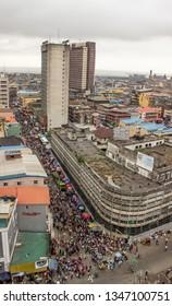 22 March 2019, Lagos Nigeria: Aerial view of Balogun market in Marina, broad street Lagos Nigeria.