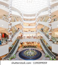 22 MAY 2018, LEIPZIG, GERMANY: Interior view of the Karstadt Mall in Leipzig
