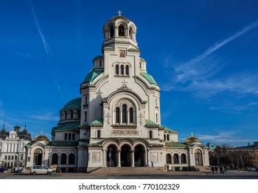 22 November, 2017: Cathedral Saint Alexander Nevski in Sofia, Bulgaria, built in 1912 year