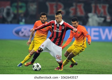 "22 OCTOBER 2013, ""G.Meazza"" Stadium, Milan, Italy: UEFA Champions League 2013/2014, AC Milan - FC Barcelona: Stephan El Shaarawy, Pedro Rodriguez and Dani Alves  in action during the match"