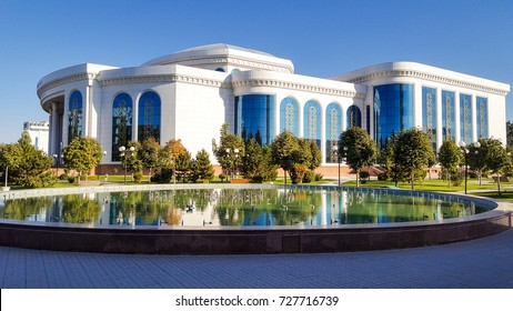 "22 Sept2017,Uzbekistan,Tashkent.National library named after A.Navoi Is part of the monumental architectural complex of ""Marifat markazi"",building of the National library and the Palace of symposiums."