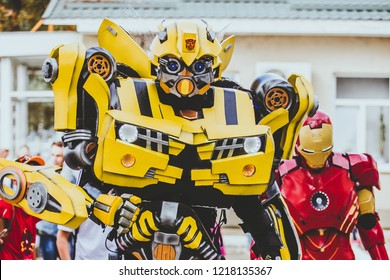 22 september 2018 Bumblebee's robot from transformers and iron man, entertains children on an air show, Chisinau, Moldova