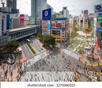 22 September 2018 ; Tokyo JAPAN ; People walking in crossroads in front shibuya station