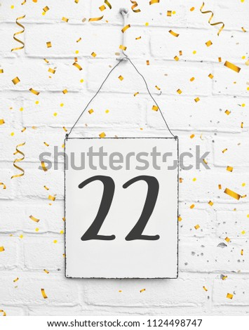 22 Years Old Birthday Party Card Text With Golden Confetti Number Twenty Two