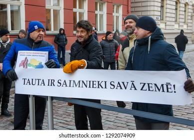 22.01.2019. RIGA, LATVIA.  Demonstration against new coalition of government of Latvia outside Saeima building (Parliament of Latvia).