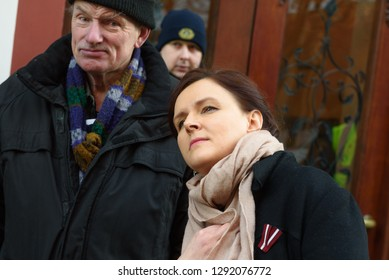 22.01.2019. RIGA, LATVIA.  Julija Stepanenko (Right side), member of Parliament of Latvia, during  demonstration against new coalition of government of Latvia outside Saeima building (Parliament of La