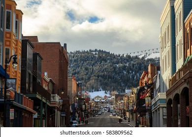 2/20/17 Park City, Utah, USA. Winter morning on main street.
