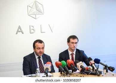 22.02.2018. RIGA, LATVIA. Press conference at ABLV bank - Chairman of the Board, Chief Executive Officer (CEO) and Vadims Reinfelds, Deputy Chairman of the Board, Deputy Chief Executive Officer .