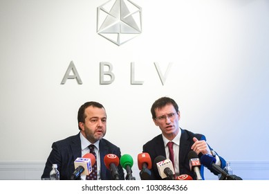 22.02.2018. RIGA, LATVIA. Press conference at ABLV bank - Chairman of the Board, Chief Executive Officer (CEO) and Vadims Reinfelds, Deputy Chairman of the Board, Deputy Chief Executive Officer.