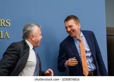 22.02.2018. RIGA, LATVIA. Press conference at Latvian Ministry of Foreign Affairs - U.S. Deputy Secretary of State Mr John J. Sullivan and Edgars Rinkevics, Latvian Minister of Foreign Affairs.