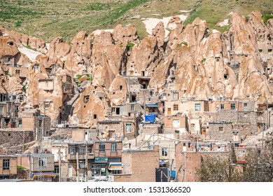 22/05/2019 Iran, Kandovan, View of Iranian ancient cave troglodyte village Kandovan in East Azerbaijan. Iran. Province near Tabriz city. Selective focus