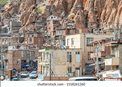 22/05/2019 Kandovan, Iran, close up view on yard of traditional Iranian ancient cave village of troglodyte in Kandovan in East Azerbaijan Province. Iran. near Tabriz city. looks like village in Turkey