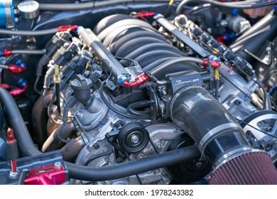 22-05-2021 Riga, Latvia - The powerful engine of the modern car.