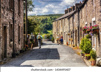 22/06/2019, Settle, North Yorkshire, Uk  Langcliffe near to Settle  whilst hill walking along Attermire4 Scar above Settle in the Yorkshire Dales National Park on a Summer day.