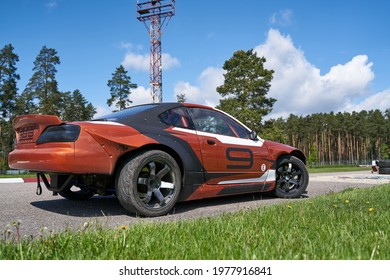 22-1-05-2021 Riga, Latvia. Power drifting car from side.