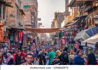 22/11/2018 Cairo, Egypt, overflowing streets of the African capital and chaotic trading in the bazaar