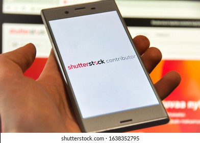 2.2.2020 Oulu, Finland. Shuterstock contributor app open on mobile