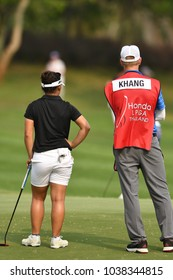 22-25 FEBRUARY 2018, Siam Country Club, Pattaya, Old Course, Thailand:Megan KHANG of USA in action during Honda LPGA
