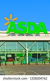 2/26/2019:Bridgend, Bridgend County Borough / Wales UK - 2/26/2019: The entrance and sign of the Asda superstore in Bridgend, S.Wales. Now part of the Walmart family of USA chain.