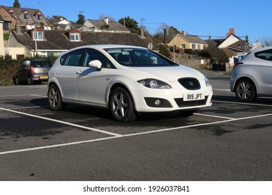22nd February 2021- A stylish Seat Leon S Emocion Tdi, five door hatchback car, parked in the public carpark at Amroth, Pembrokeshire, Wales, UK.