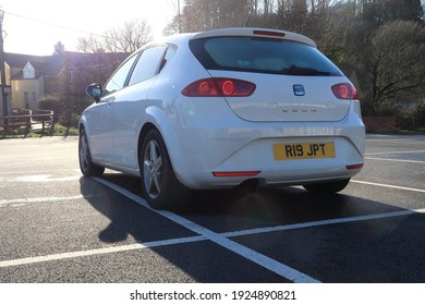 22nd February 2021- A white Seat Leon S Emocion Tdi, five door hatchback car, parked in the town carpark at Amroth, Pembrokeshire, Wales, UK.