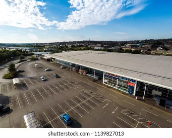 22nd - July - 2018 - Longton - Staffordshire, Aerial view of the Tesco superstore just off the A50 in Stoke on Trent, far wide right view