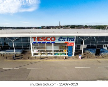22nd - July - 2018 - Longton - Staffordshire, Aerial shot of Tesco Extra at the local business park