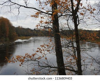 22nd of October 2017 - Scene from Russian city with view to the river Luga past autumn trees, Kingisepp, Russia