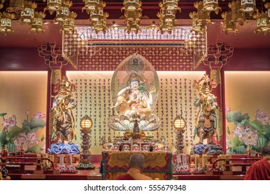 23 Apr 2016, Singapore, The Buddha Tooth Relic Temple is a Buddhist temple located in the Chinatown district of Singapore.