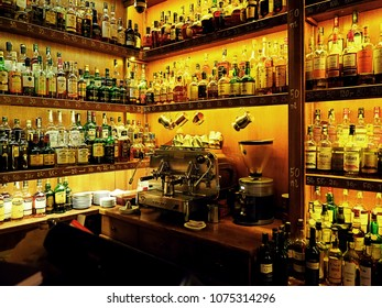 23 April 2018, Gdansk, Poland, Shelf with full of drinks and alcohol beverages in the bar, club, restaurant, coffee machine in Gdansk, Poland