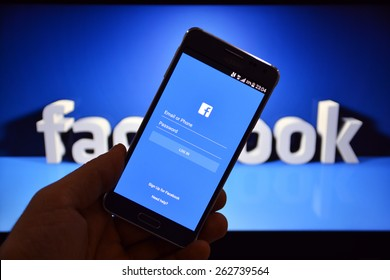 23 March 2015 - Istanbul, TURKEY: Facebook user login screen. The number of active mobile users Facebook has reached 1 billion people