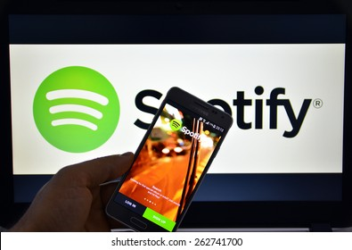 23 March 2015 - Istanbul, TURKEY: Spotify Swedish music service that offers legal streaming music. Was launched in October 2008.