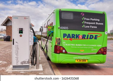 23 March 2016: York, North Yorkshire, England, UK - Electric bus being recharged at Siemens Electric Vehicle Rapid Charger, at York Park and Ride.