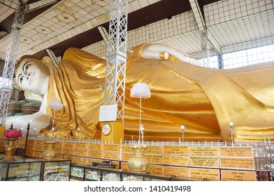 23 March 2019,Shwethalyaung Buddha  Bago Myanmar,  Buddhist people come to visit and pay respect to Buddha.
