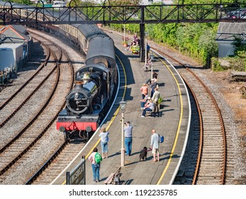 23 May 2018; Kingswear, Devon, UK - A passenger train hauled by steam locomotive 7827 'Lydham Manor' enters Kingswear station on the Dartmouth Steam Railway & River Boat Company preservation railway.