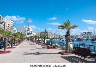 23 october 2015-Sliema, Malta-View of a street in Sliema , Malta