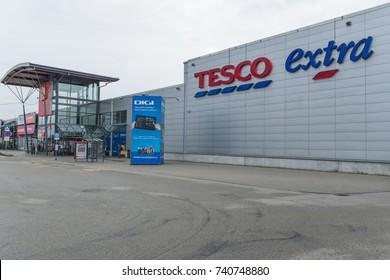 23 of October, 2017, Editorial photo of Tesco extra supermarket, shopping park, Brno, Czech Republic