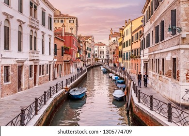 23 OCTOBER 2018, VENICE, ITALY: Venice cityscape with narrow street and canal