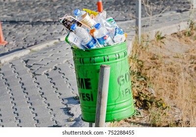 23 SEPTEMBER 2017, GOREME, TURKEY: trash can, full with the waste, concept of pollution of nature and lack of resources for garbage collection
